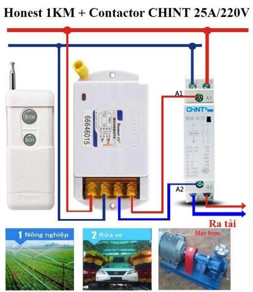 Bộ công tắc điều khiển từ xa Honest 1KM công suất lớn 3500W 25A/220V 6380KG-1 + Và 1 khởi động từ CHINT 25A/220