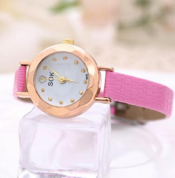 Nơi bán Đồng hồ nữ SOK mặt vát 3D dây da xinh xắn