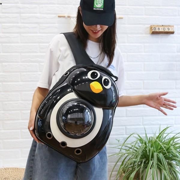Balo phi hành gia chim cánh cụt đen cho mèo tặng kèm thảm lót