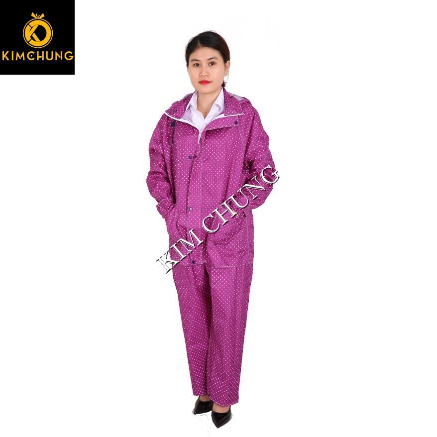 Áo mưa bộ vải dù thời trang cao cấp, siêu nhẹ, siêu bền (mẫu họa tiết Size 1XL từ 1m5-1m6)