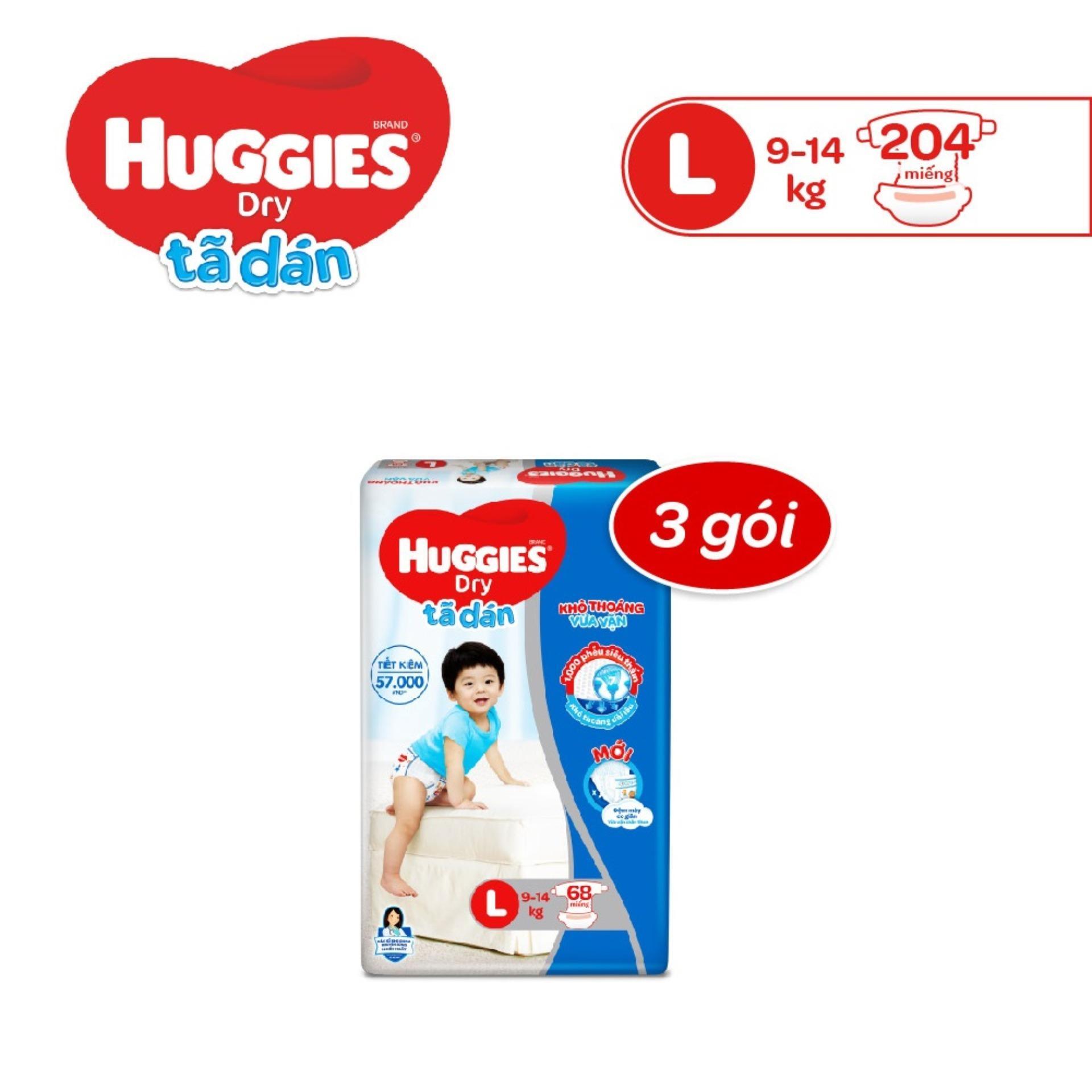 Bộ 3 Tã/Bỉm Dán Huggies Dry Super Jumbo L68 (Đệm...
