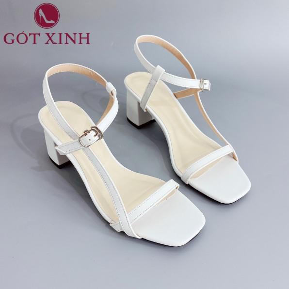 Sandal Cao Gót Gót Xinh GX241 Quai Ngang Mỏng Đế Cao 5cm Da Mềm Gót Nhọn giá rẻ