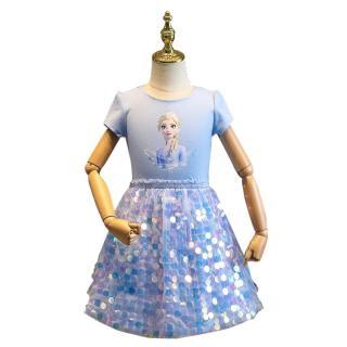 Đầm Bé Gái Công Chúa Hình Đám Mây DC, Quần Áo In Hoạt Hình Elsa Đầm Trẻ Em Thời Trang Lấp Lánh Kim Sa Đông Lạnh Dành Cho Thiếu Niên