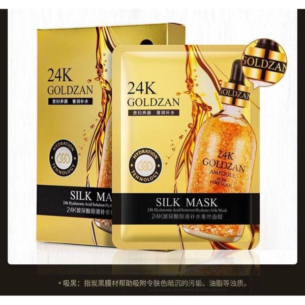 Hộp 10 Mặt nạ lụa tơ tằm vàng 24k Goldzan Silk Mask