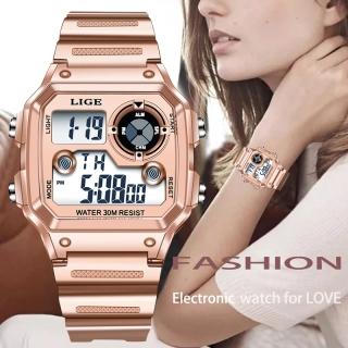 LIGE đồng hồ nữ Đa chức năng chống thấm nước màu hồng nam nữ thể thao sáng đồng hồ thumbnail