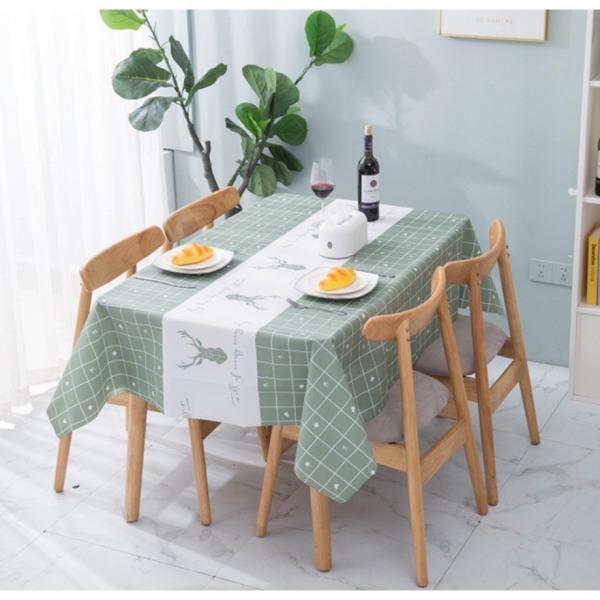 Khăn trải bàn ăn không thấm nước phối màu mẫu ô vuông xanh hình hưu