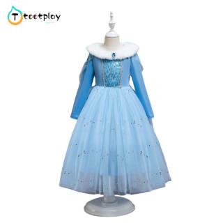 Tootplay Cô Gái Ăn Mặc Bông Phim Hoạt Hình Áo Choàng Đầm Công Chúa Dài Tay Dày Dành Cho Trẻ Từ 3-8 Tuổi