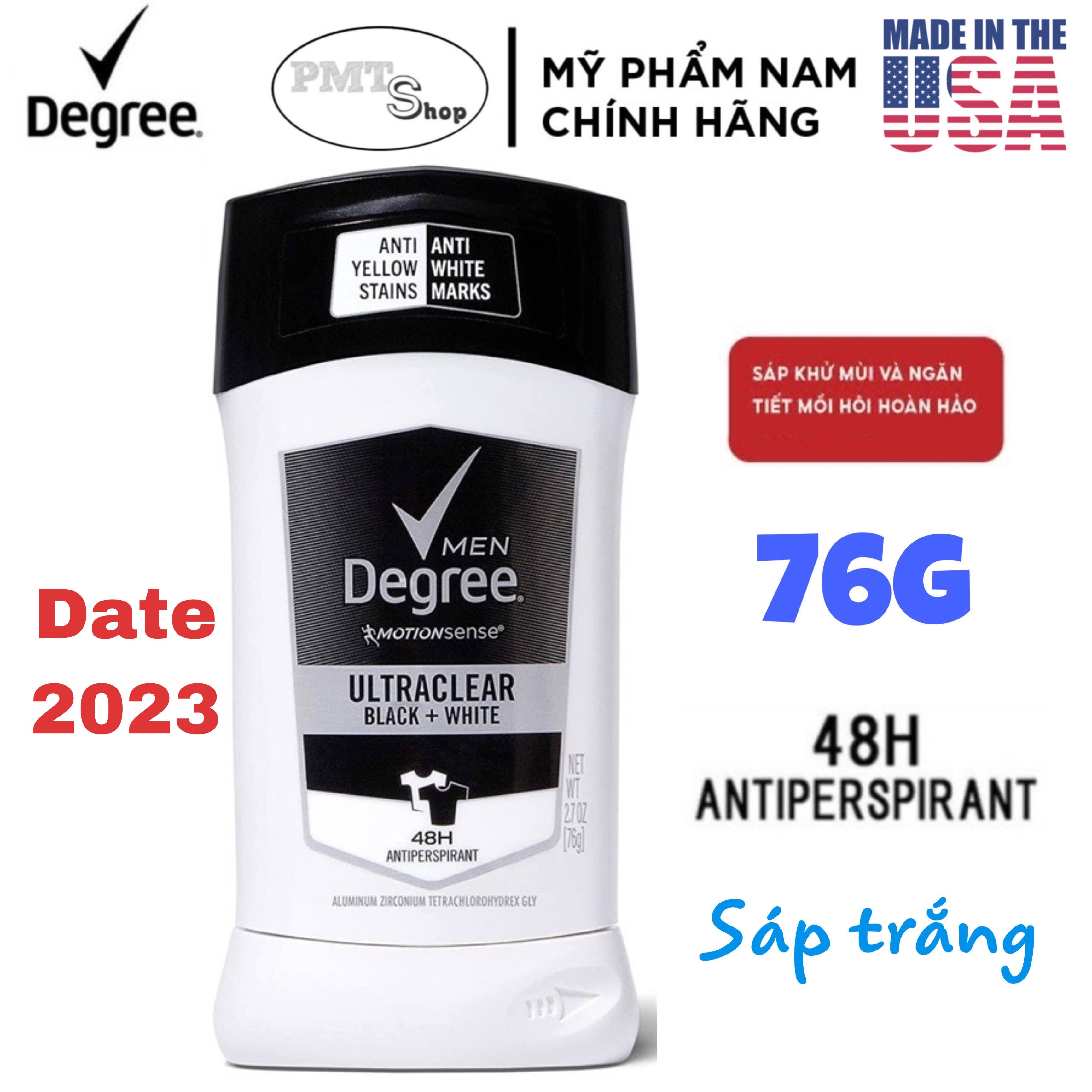 [USA] Lăn sáp khử mùi Degree men Motionsense UltraClear Black + White 76g (sáp trắng) chống ố áo - Mỹ