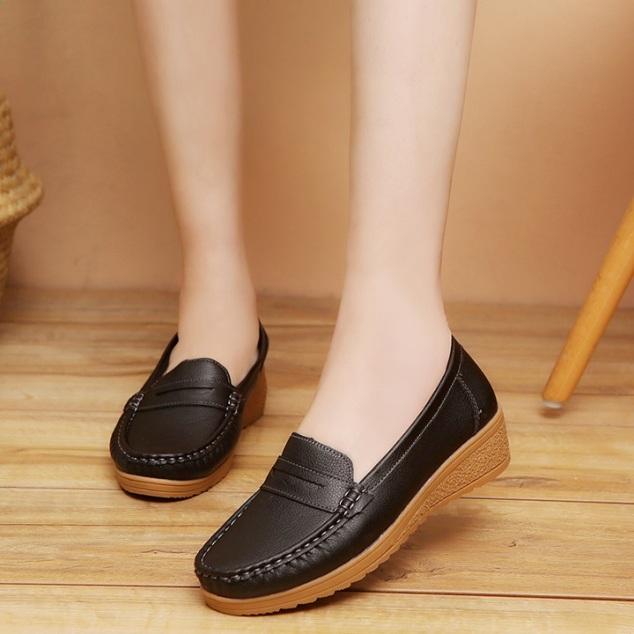 Giày Lười Da Độn Đế Nữ, Giày Moca Nữ Độn Đế, Giày Mọi Nữ Độn Đến Êm Chân, Thoáng Khí Hàng Cao Cấp giá rẻ