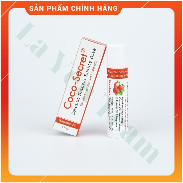 [HƯƠNG DÂU] Son Dưỡng Môi Tinh Dầu Dừa Sáp Ong Vitamin E Coco Secret 5g Mềm Mượt Môi