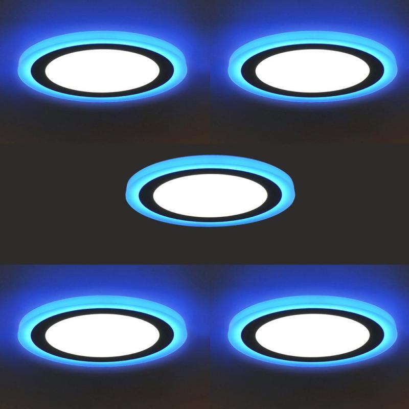 Bộ 5 đèn led nổi ốp trần 24w tròn 2 màu 3 chế độ