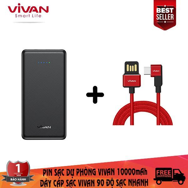 Giá Combo sạc dự phòng vivan 10000mAh + dây cáp sạc Micro vivan tích hợp sạc nhanh thiết kế chữ L 90 độ chuyên dụng chơi game ( bảo hành 1 đổi 1 ) - CB7
