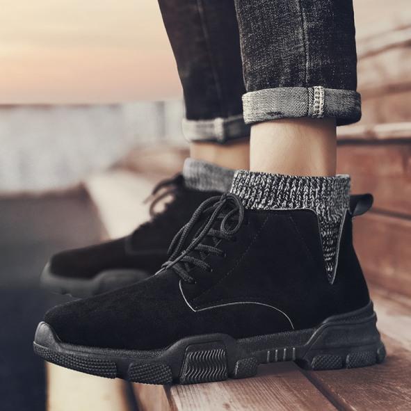 Giày cao cổ nam da lộn cổ bo full đen phong cách - B end T Shop giá rẻ