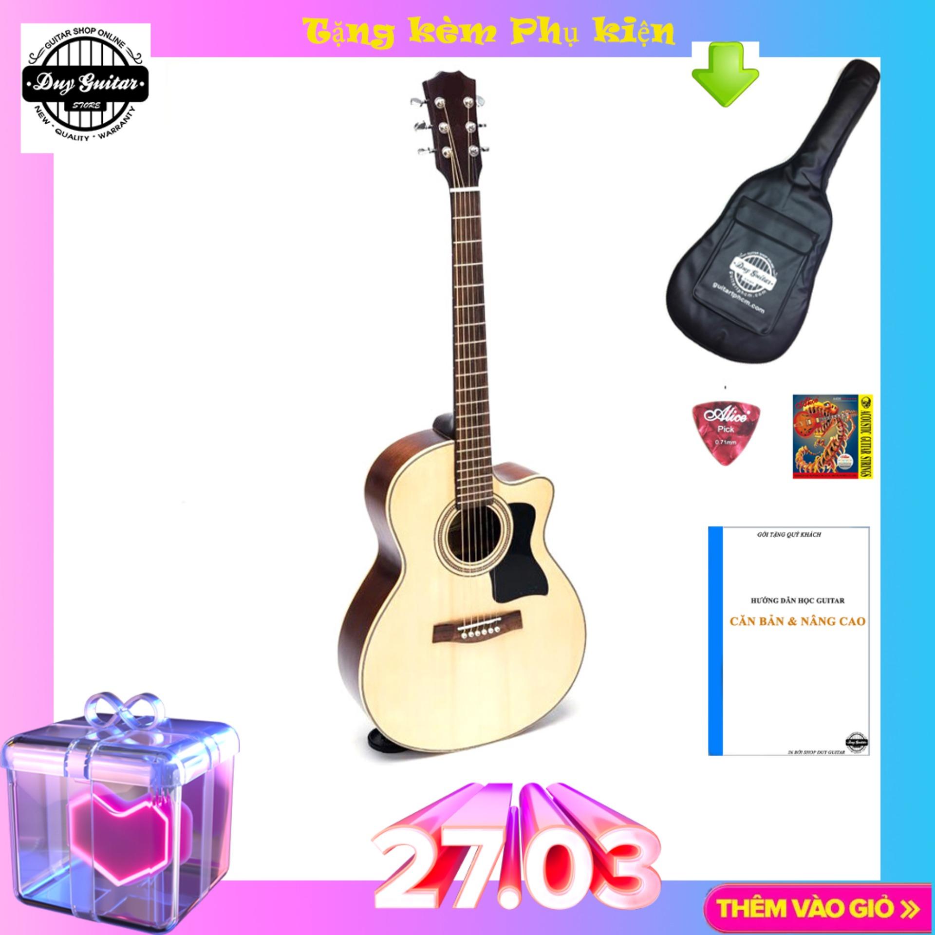 Đàn guitar Acoustic DJ150 Natural sản xuất thủ công, âm thanh trầm bổng, chất lượng đảm bảo - Duy Guitar Shop