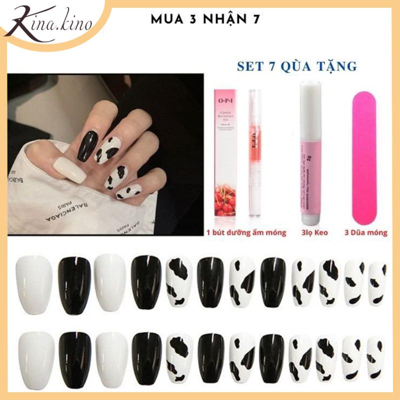[Tặng keo+dũa] Bộ 24 móng tay giả cao cấp- nail giả có sẵn 100 mẫu- KinaKino phu kienlamdep giá rẻ