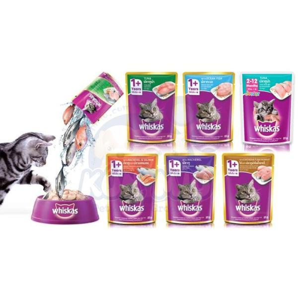 1 gói Thức ăn Pate Whiskas Adult cho mèo trưởng thành 85gr Vị Gà và Cá ngừ