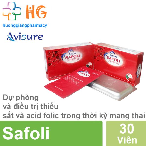 Avisure Safoli - Giúp phòng chống thiếu sắt và acid folic trong thời kỳ mang thai (Hộp 30 Viên)