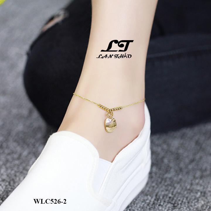 LẮC CHÂN NỮ TITAN MÈO THẦN TÀI MAY MẮN K ĐEN K GỈ SÉT WLC526-2 (VÀNG)