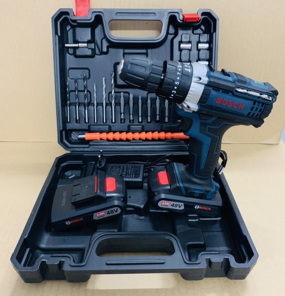 Máy khoan pin 48V BOSH 3 chức năng có búa - Chuyên khoan tường, khoan sắt, khoan gỗ, bắt vít