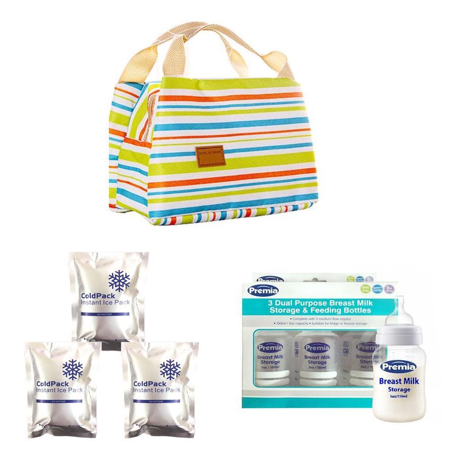 Combo túi giữ nhiệt sọc ngang (màu giao ngẫu nhiên) + 3 túi đá khô diệt khuẩn giữ lạnh + 3 bình trữ sữa Premia 150ml/bình