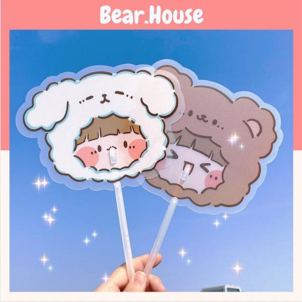 🍓Quạt Nhựa Cầm Tay Trong Suốt Hình Dáng Hoạt Hình Dễ Thương Bear.House