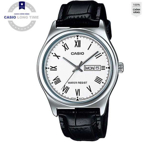 Đồng hồ nam Casio MTP-V006L-7BUDF Dây da màu đen - Mặt số la mã màu trắng