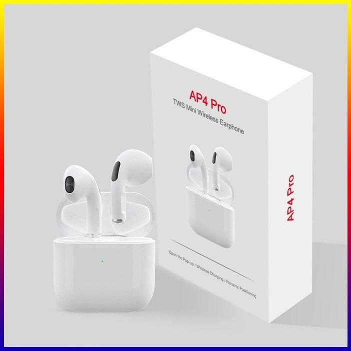 Tai nghe Bluetooth không dây Airpods Pro 4 cho điện thoại Apple iPhone, Samsung, Oppo, Xiaomi, Sony, VSmart- tai nghe nhét tai, kiểu dáng thể thao, gọn như airpods với phiên bản bluetooth 5.0 cảm biến vân tay - Mã giảm giá Pro4- Thinksky