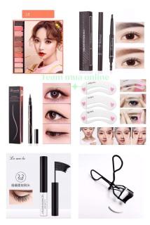 Bộ trang điểm mắt 6 món phấn mắt 10 màu, chì kẻ mày, kẻ mắt nước, mascara, khuôn kẻ mày, bấm mi thumbnail