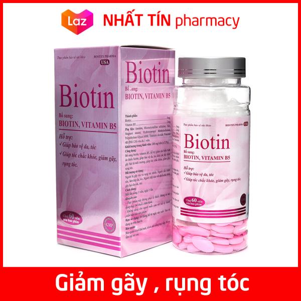 Viên uống bổ sung Biotin, Vitamin B5 giúp tóc chắc khỏe, giảm gãy rụng tóc, bảo vệ da tóc - Chai 60 viên