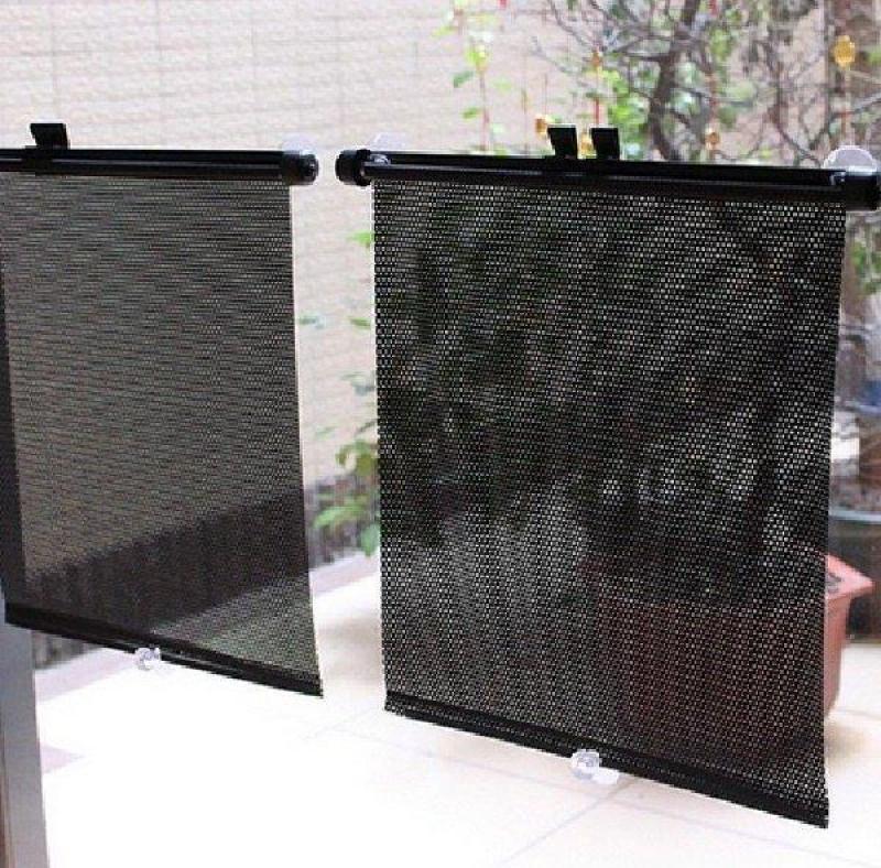 Bộ 2 che nắng cuộn tự động phản quang chống nắng kính bên cho xe ô tô kích thước 40x60cm(dùng cho mọi loại xe)