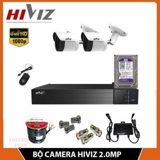 Trọn Bộ Camera giám sát HIVIZ FULL HD ,Đủ bộ 2 mắt thân 2.0MP, Kèm Ổ LƯU và đầy đủ phụ kiện lắp đặt thumbnail