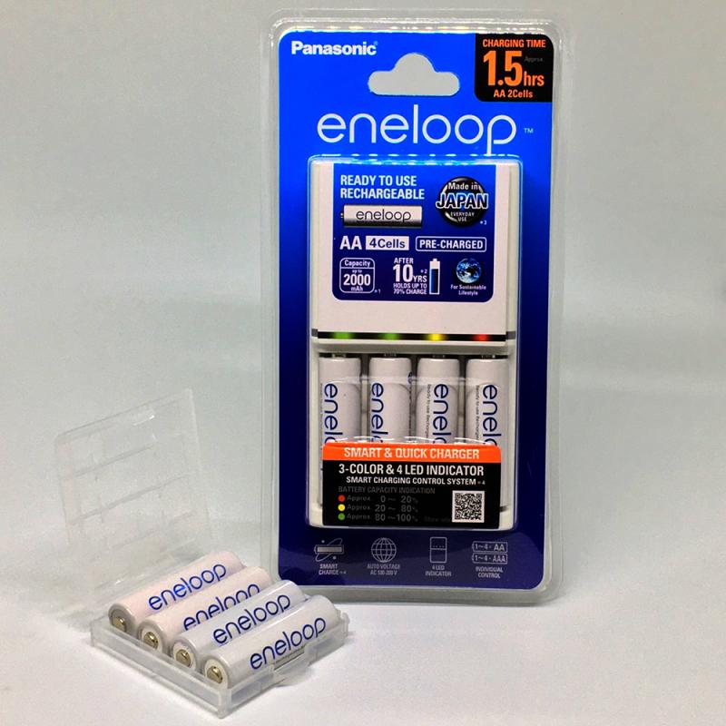 Bộ sạc pin Panasonic BQ-CC55 , sạc nhanh , tự ngắt khi pin đầy, tặng kèm 4 pin sạc Eneeloop