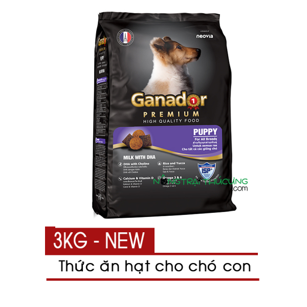 Thức ăn hạt cho Chó Con Ganador Puppy 3kg - Vị Sữa & DHA - [Nông Trại Thú Cưng]