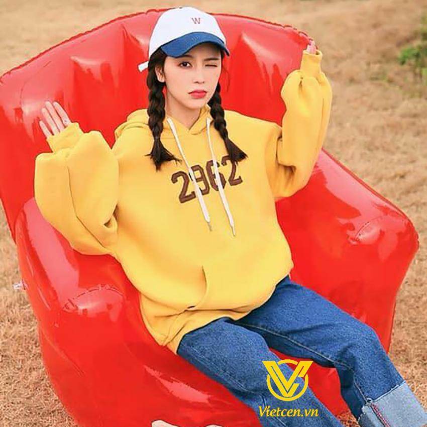 Áo Hoodie nữ in 2962 có mũ kute