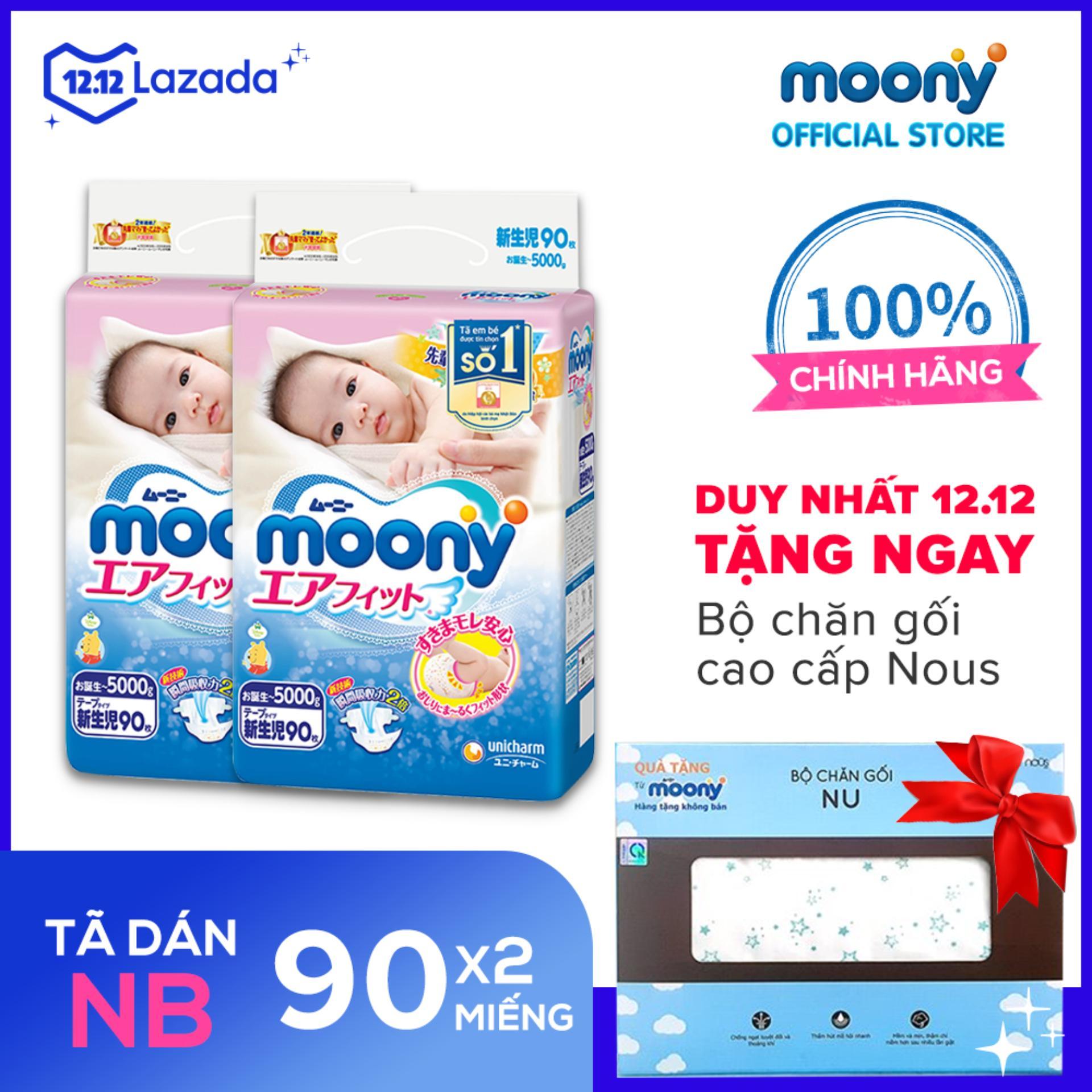 [KÈM QUÀ] Bộ 2 Tã/bỉm Dán Cao Cấp Moony Newborn 90 Miếng (0-5kg) - Tặng 1 Bộ Chăn Gối Nous Giảm Cực Hot