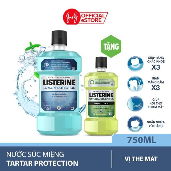 Nước súc miệng Listerine Tartar ngừa vôi răng 750ml + Tặng 1 trà xanh 250ml - 101058745