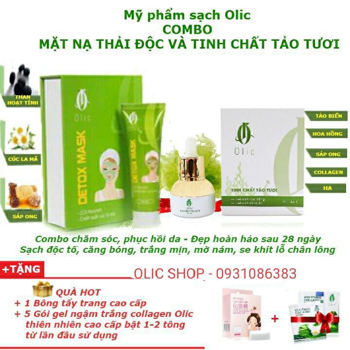 Detox Mask Olic và Tinh chất tảo tươi - Hút sạch độc tố trên da Nâng cơ da mặt sau 28 ngày nhập khẩu