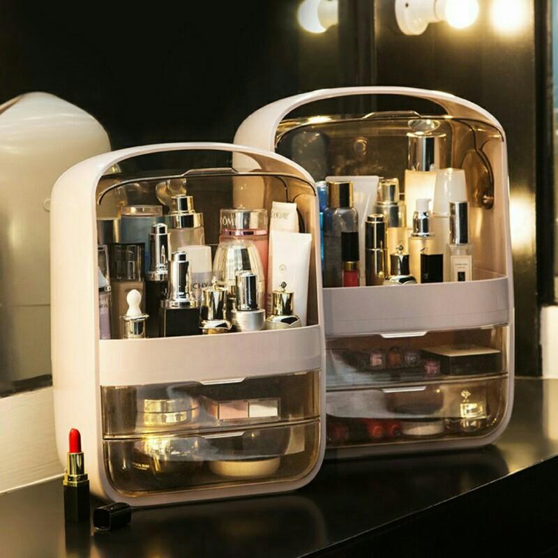 Kệ đựng mỹ phẩm Hộp lưu trữ mỹ phẩm siêu đẹp, hộp trang điểm Pandora, nắp và ngăn kéo pha lê, kệ để bàn đựng son môi, chăm sóc da, thiết kế cầm tay