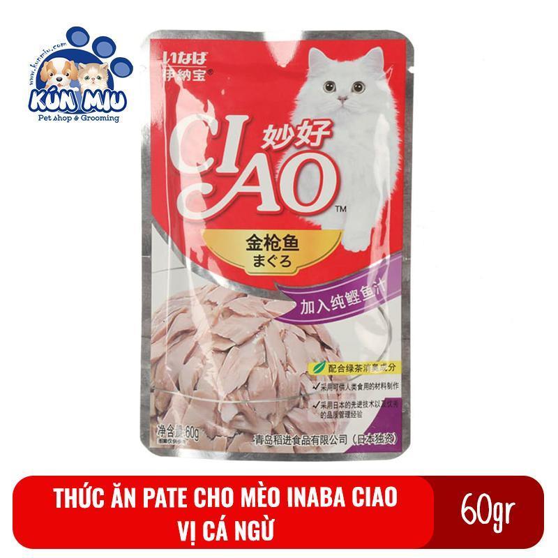 Thức ăn Pate cho mèo Inaba Ciao gói 60gr Vị Cá ngừ