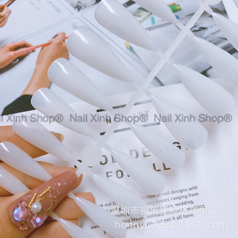 Móng Tay Giả (Móng Úp) 1 vỉ 24 Móng Đủ Cỡ, Màu Trong Suốt Tự Nhiên, Form Nhọn + Kèm Keo Dán Móng 2g,chuyên dụng design cho nail salon (24 móng/vỉ) giá rẻ