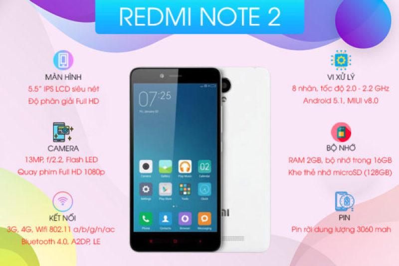 Điện thoại Xiaomi Redmi Note 2 2SIM - Chính Hãng - Màn hình 5.5 inch - Pin 3050 mAh