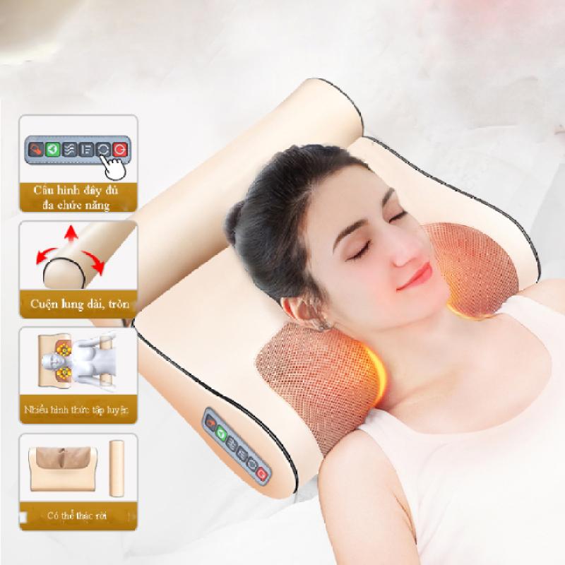 Gối mát xa massage Junbu®  hồng ngoại 16 bi - Trị liệu cổ, vai ,gáy, cột sống lưng chất liệu da, vải chống thấm nước + tặng kèm gối lưng + gói trị liệu ngải cứu cao cấp
