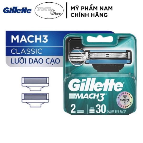 Hộp Lưỡi Dao Cạo Râu cao cấp Gillette Mach 3 vỉ 2 cái - Mach3 3 lưỡi