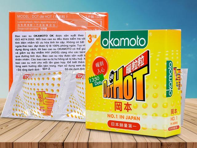 Bao Cao Su Okamoto Dot de Hot Gai Nóng Truyền Nhiệt Nhanh Hộp 3 Cái