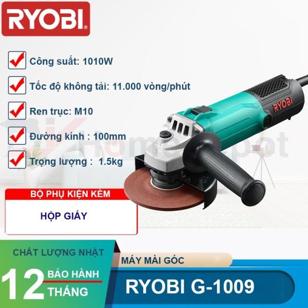 Bn.Máy Mài Góc Ryobi G-1009 1010W ( Tặng Kèm 1 Đá Mài Và 1 Lưỡi Đá Cắt 100Mm)