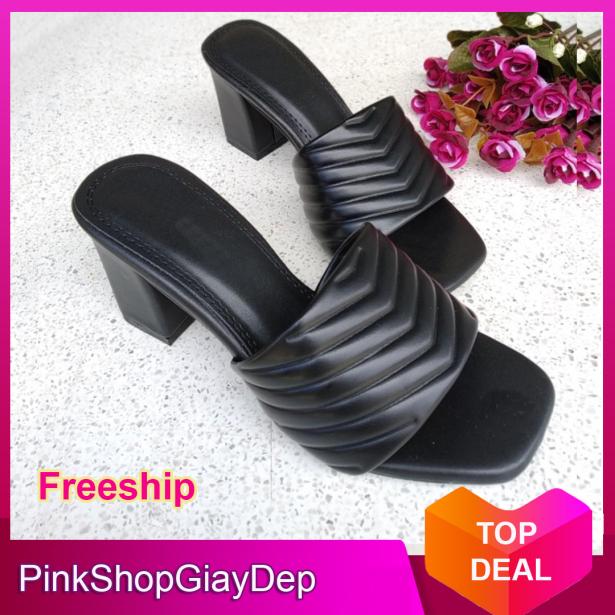 (Miễn ship) Guốc, dép cao gót da cao cấp PinkShopGiayDep quai ngang lượn sóng siêu xinh giá rẻ
