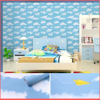 Cuộn 5 mét giấy dán tường mây xanh khổ rộng 45cm có keo sẵn, giấy dán tường đám mây, giấy dán tường hình đám mây, giấy dán tường màu xanh da trời, giấy dán tường màu xanh ngọc, giấy decal dán tường mây xanh - Lala Mart thumbnail