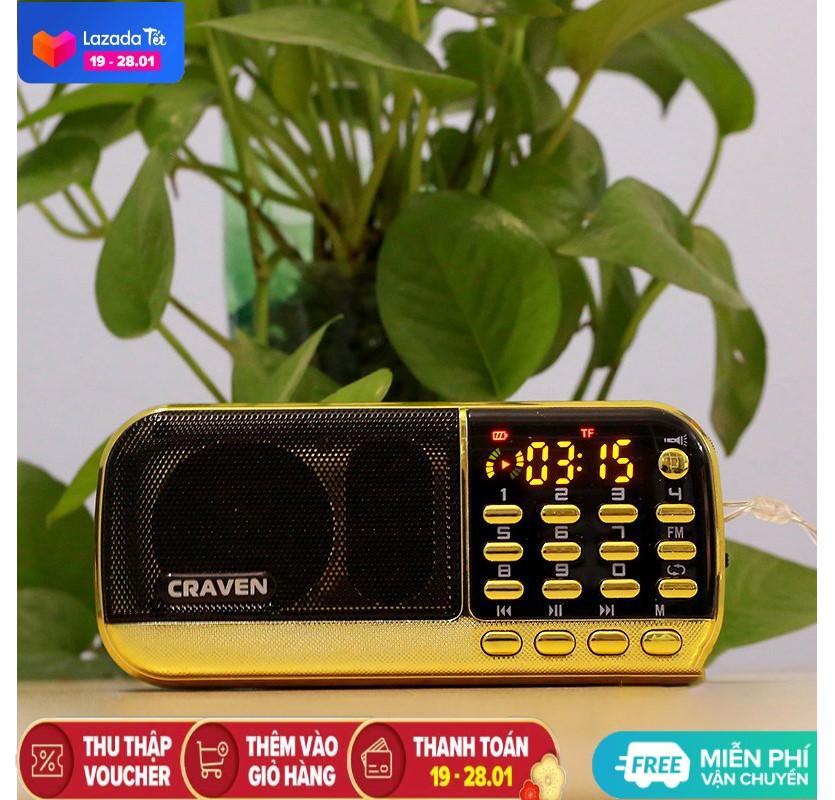 Máy nghe pháp | Loa Craven CR 853/836S đọc kinh phật pin siêu trâu | Máy 3 PIN nghe rất lâu dùng thẻ nhớ hoặc USB mẫu mới nhất | Loa nghe tiếng anh cho bé | Loa nghe đài FM, radio, nghe kinh phật, tập thể dục | Craven chính hãng - BH 6T