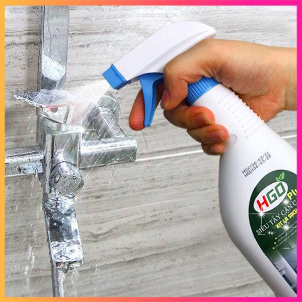 Siêu Tẩy Cặn Canxi HGO PLUS Tẩy Vòi Sen, Vách Kính, Bồn Cầu, Lavabo Trong Nhà Tắm, Chai 500ml