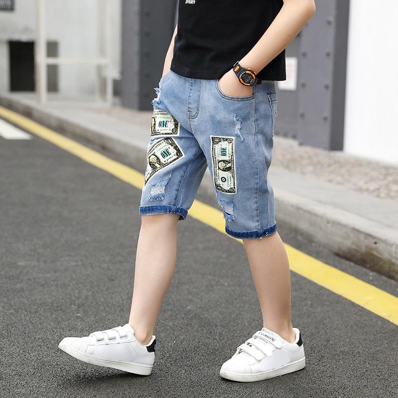 Quần jean bé trai cắt quần denim Quần in họa tiết thông thường cho quần áo trẻ em 5-12 tuổi